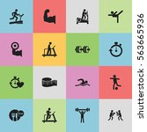 set of 16 editable fitness... | Shutterstock . vector #563665936