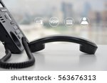 ip phone with icon   cencept... | Shutterstock . vector #563676313