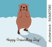 happy groundhog day. cute... | Shutterstock .eps vector #563687080