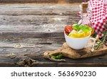 quick simple breakfast snack... | Shutterstock . vector #563690230