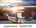 containers shipping and... | Shutterstock . vector #563691394