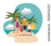 cute family member on the beach | Shutterstock .eps vector #563691610