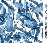 tropical leaves pattern. blue...   Shutterstock . vector #563697850