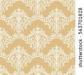 damask seamless floral pattern... | Shutterstock . vector #563701828