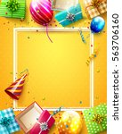 luxury party balloons  confetti ... | Shutterstock .eps vector #563706160