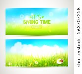 vector set of two spring... | Shutterstock .eps vector #563707258