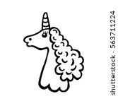 hand drawing unicorn with curly ...   Shutterstock .eps vector #563711224
