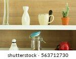decorated interior on shelf | Shutterstock . vector #563712730
