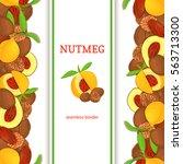 nutmeg verticall seamless... | Shutterstock .eps vector #563713300