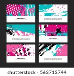 set of horizontal artistic... | Shutterstock .eps vector #563713744