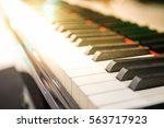 Old Piano Keys. Close Up View...