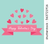 flying pink heart and dash line ... | Shutterstock .eps vector #563721916