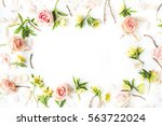 Frame Of Pink Roses  Branches ...