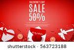 valentine's day sale web banner.... | Shutterstock .eps vector #563723188