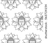 buddha and lotus seamless... | Shutterstock .eps vector #563724154