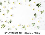 Stock photo frame of chamomiles branches leaves and lilac petals on white background flat lay top view 563727589