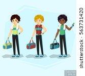 young fit man in sportswear ... | Shutterstock .eps vector #563731420