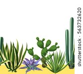 Seamless Border With Cactuses...