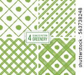 Set of greenery seamless pattern of diagonal stripes and circle in color 2017, seamless green background lines and points, hand drawn vector for textile, wallpaper, wrapping, paper
