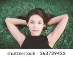 outdoor portrait of a beautiful ... | Shutterstock . vector #563739433