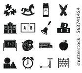 kindergarten symbol icons set.... | Shutterstock .eps vector #563741434