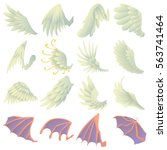 different wings icons set.... | Shutterstock .eps vector #563741464