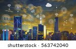 smart city with contemporary... | Shutterstock . vector #563742040