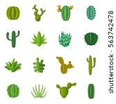 green cactuses icons set.... | Shutterstock .eps vector #563742478