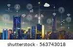 smart city with contemporary... | Shutterstock . vector #563743018