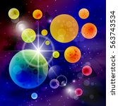 space space. planets and stars. ... | Shutterstock .eps vector #563743534