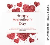 poster with hearts from red... | Shutterstock .eps vector #563751658
