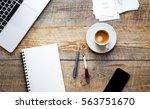 man's working place at wooden... | Shutterstock . vector #563751670