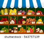 fruit shop or market stand with ... | Shutterstock .eps vector #563757139