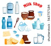 dairy products and milk icons.... | Shutterstock .eps vector #563757184