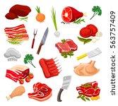 meat products vector beef filet ... | Shutterstock .eps vector #563757409