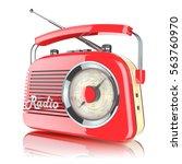 red retro radio receiver... | Shutterstock . vector #563760970