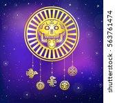 stylized skull. pagan god of... | Shutterstock .eps vector #563761474
