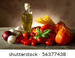 spaghetti ingredients | Shutterstock . vector #56377438
