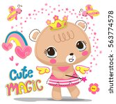 cute bear girl wearing flower... | Shutterstock .eps vector #563774578