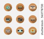 retro radio icon vector   Shutterstock .eps vector #563778730