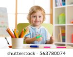cute little preschooler child... | Shutterstock . vector #563780074