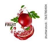 fresh pomegranate fruit  | Shutterstock .eps vector #563780404