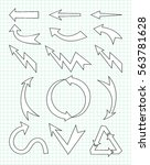 set of arrow hand drawn design... | Shutterstock .eps vector #563781628