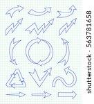 set of arrow hand drawn design... | Shutterstock .eps vector #563781658