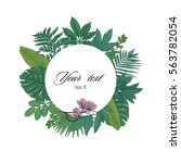 exotic leaves round color frame | Shutterstock .eps vector #563782054
