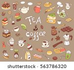 big vector collection of doodle ... | Shutterstock .eps vector #563786320