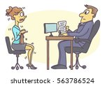 scared woman at job interview ... | Shutterstock .eps vector #563786524