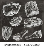 natural meat. poultry. beef....   Shutterstock .eps vector #563792350
