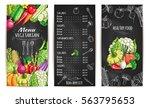vegetables chalk sketch... | Shutterstock .eps vector #563795653