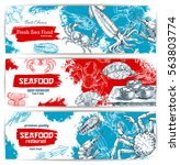 seafood banners with fish food... | Shutterstock .eps vector #563803774
